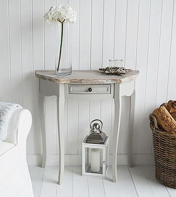 The White Cottage Bridgeport Grey Half Moon Table for living room furniture