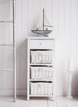 New Haven tall white bathroom storage furniture