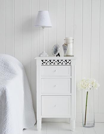 New England white bedside cabinet with drawers White  Cottage Bedroom Furniture