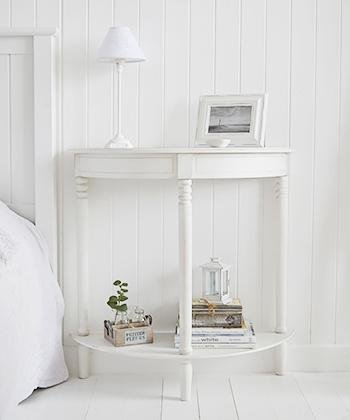 Colonial white half moon table for bedside table in bedroom furniture
