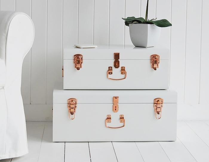 Nantucket white trunks for living room furniture