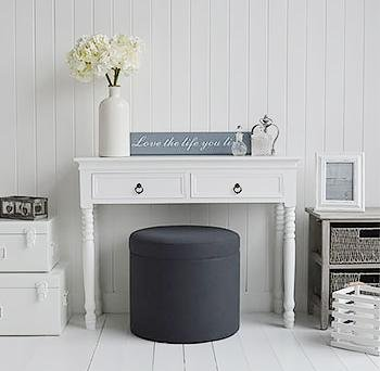 Westhampton Grey foot stool, coffee table and dressing table stool White Cottage Bedroom furniture