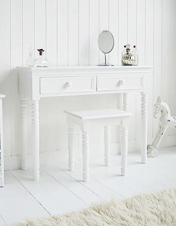 White Cottage Bedroom Furniture New England white Dressing Table with white handles