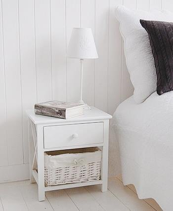 White Bedside Table with drawers from White Cottage Bedroom Furniture
