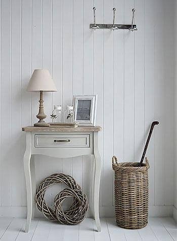 White Cottage Furniture - Bridgeport Grey Table console for hallway furniture