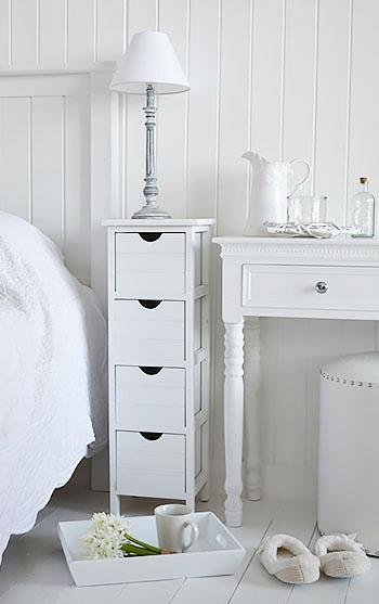 25cm wide narrow bedside table from The White Cottage Bedroom Furniture