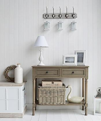 The White Cottage Hallway furniture - Newport French Grey console table with shelf and drawer