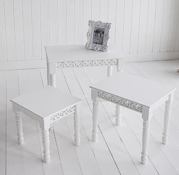 The White Cottage Nest of three white tables for living room furniture
