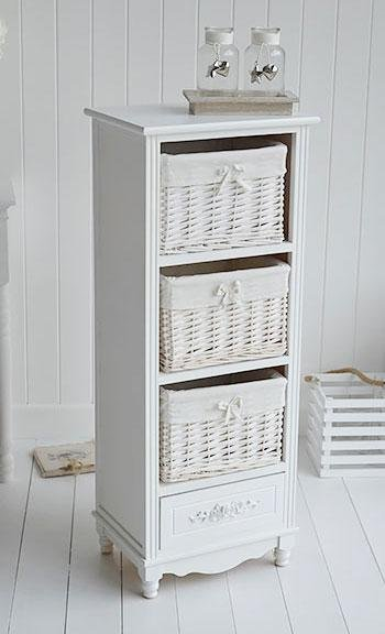 White Cottage Furniture - Rose white tall storage baskets for bedroom