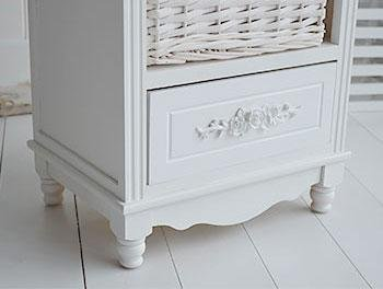White Cottage Furniture - Rose white tall storage baskets for hallways