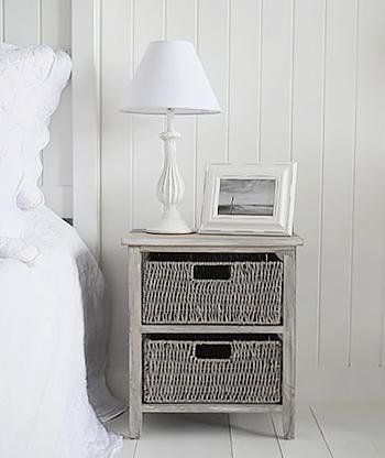 The White Cottage Bedroom Furniture St Ives Grey Storage furniture with 2 baskets