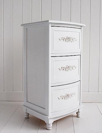 Rose White bedside lamp table with drawers form White Cottage Furniture