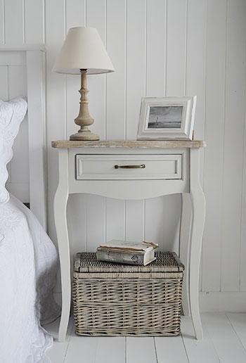 White Cottage Bedroom Furniture - Bridgeport Grey Table for bedside table