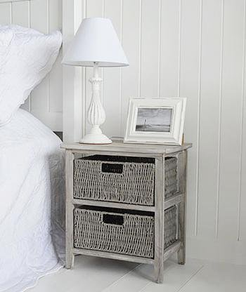 The White Cottage Furniture St Ives Grey Storage furniture with 2 baskets for bedside table