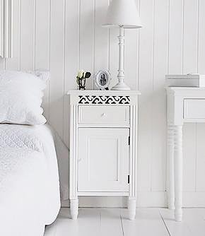 New England white bedside cabinet with cupboard and drawer from White Cottage bedroom furniture