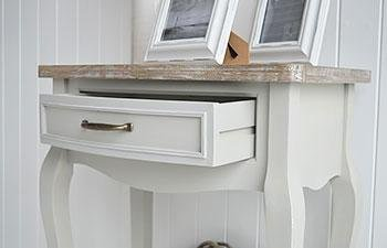 White Cottage Furniture - Bridgeport Grey Table open drawer