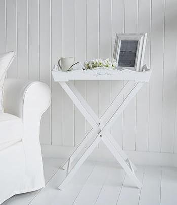 The White Cottage Butler Tray Table folding side table for living room furniture