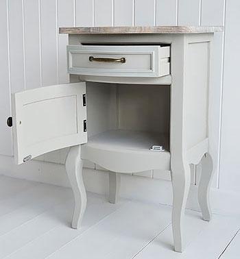 Bridgeport Grey Bedside Lamp Table open
