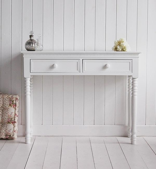 New England white Dressing Table with white handles from White Cottage Bedroom Furniture