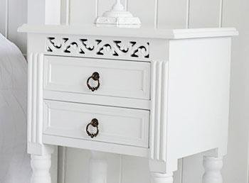 New England white bedside table from White Cottage Bedroom Furniture