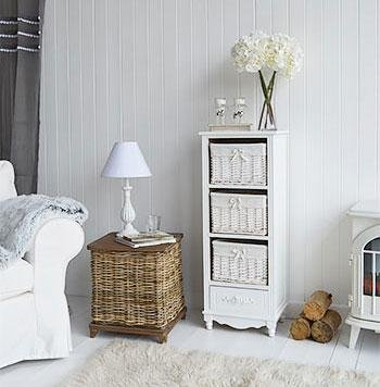 White Cottage Furniture - Rose white tall storage baskets for living room