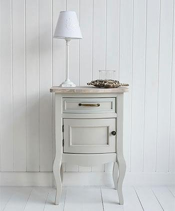 Bridgeport Grey Bedside Lamp Cupboard Table