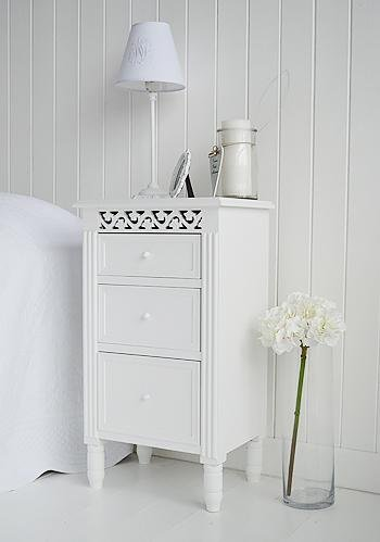 New England white bedside cabinet with drawers from White Cottage Bedroom Furniture