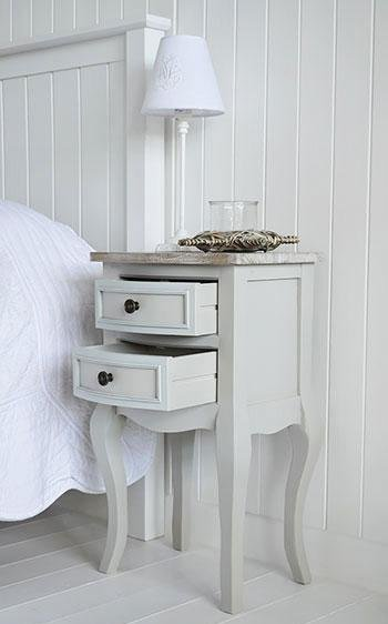The White Cottage Furniture - Bridgeport Grey lamp table with drawers for bedside table