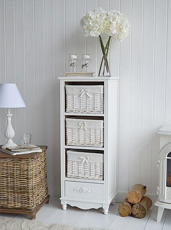 White Cottage Furniture - Rose white tall storage baskets for cottage interiors
