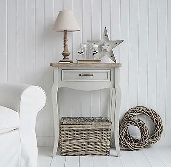 White Cottage Furniture - Bridgeport Grey Table for living room side table