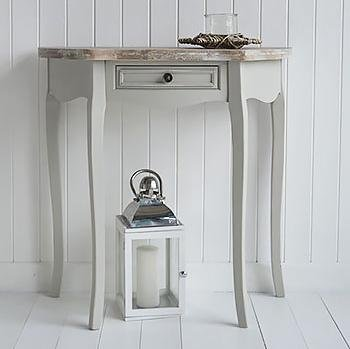 The White Cottage Bridgeport Grey Hal Moon Table with drawer