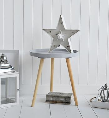 The White Cottage Furniture Portland grey scandi style tripod bedside table