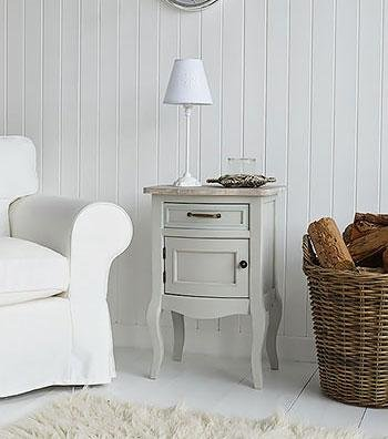 The White Cottage bedroomFurniture Bridgeport Grey bedside cabinet