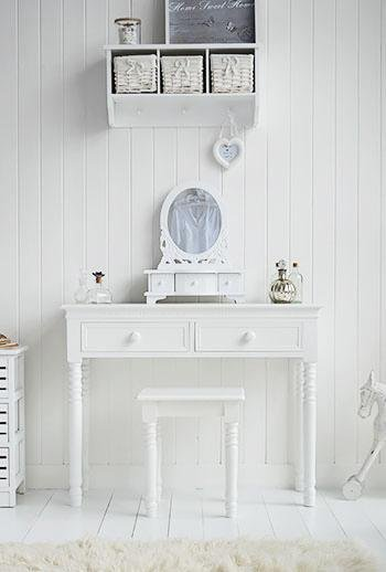 New England white Dressing Table with white handles for White Bedroom furniture