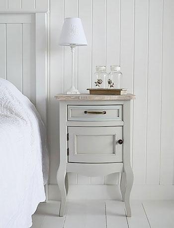 Bridgeport Grey Bedside Lamp Table for cottage bedroom furniture