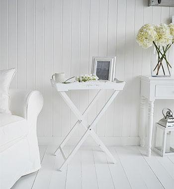 The White Cottage bedroom Furniture White folding bedside table