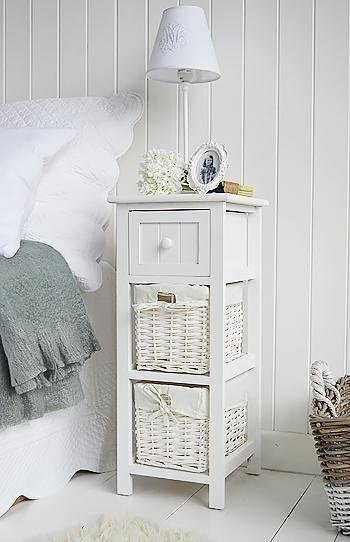 Narrow Bedside Table Bar Harbor 25cm wide White Cottage Bedroom Furniture