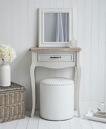 White Cottage Bedroom Furniture - Bridgeport Grey Dressing Table