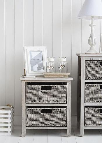 The White Cottage living room Furniture St Ives Grey Cabinet lamp table storage with drawers