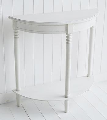 Colonial white half moon table White Cottage Hall Furniture