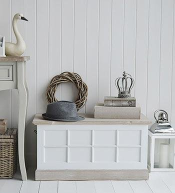Vermont small storage trunk for hallway furniture from The White Cottage Furniture