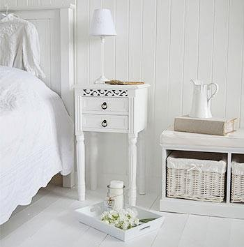 New England white bedside table White Cottage Bedroom Furniture