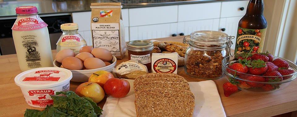 Breakfast foods at AppleGarden Cottage