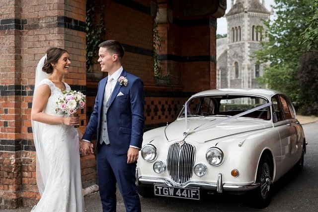 Jaguar Mk2 with the Bride and Groom at the Elvetham Hotel