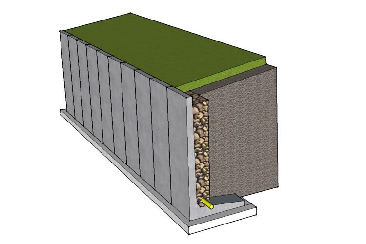 L shaped retaining walls