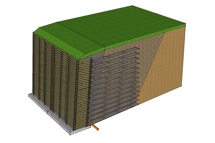 Criblock reinforced earth retaining wall
