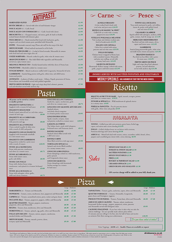 New Menu July 2016