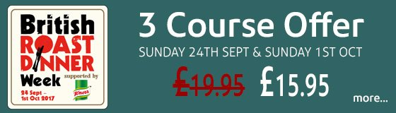 3 Course Sunday Roast Offer