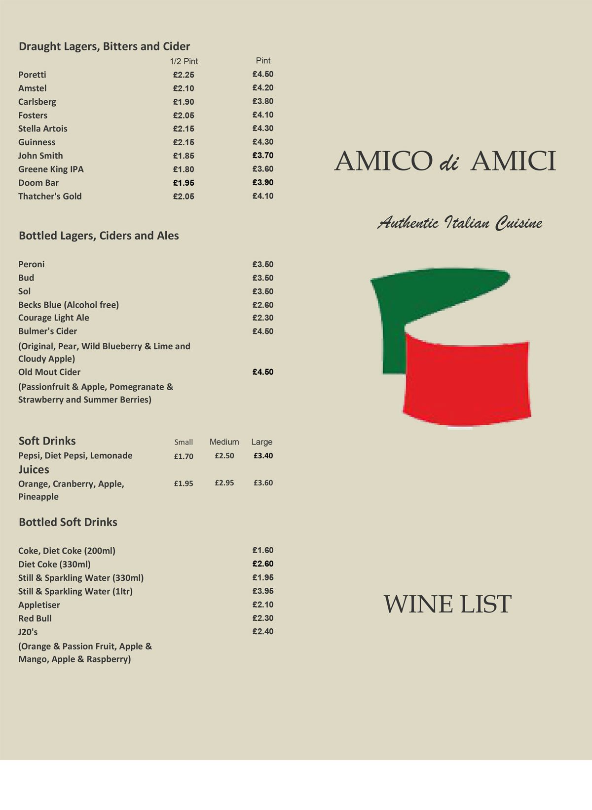 Red Lion Amico Di Amici Wine LIst